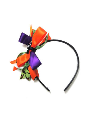 Maker's Halloween Black Cat Headband with Ribbons