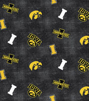 "University of Iowa Hawkeyes Flannel Fabric 42""-Distressed Logo, , hi-res"