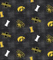 "University of Iowa Hawkeyes Flannel Fabric 42""-Distressed Logo, , hi-res"