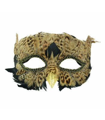 Maker's Halloween Owl Mask with Feathers-Brown