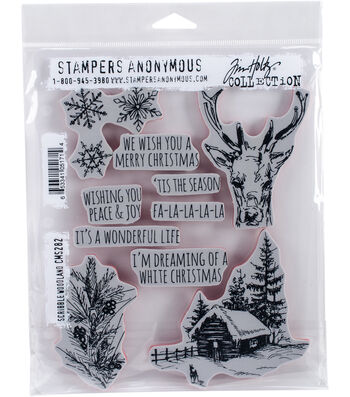 """Tim Holtz Cling Stamps 7""""X8.5""""-Scribble Woodland"""