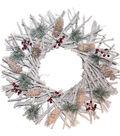 Blooming Holiday 18\u0027\u0027 Twig, Pinecone & Berry Wreath
