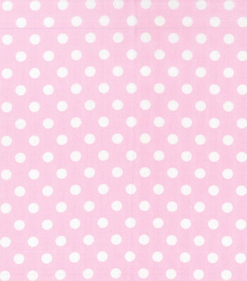 "Nursery Cotton Fabric 43""-White Dot On Pink"