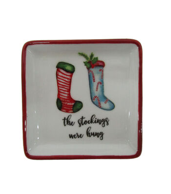 Maker's Holiday Christmas Stoneware Square Plate-The Stockings were Hung