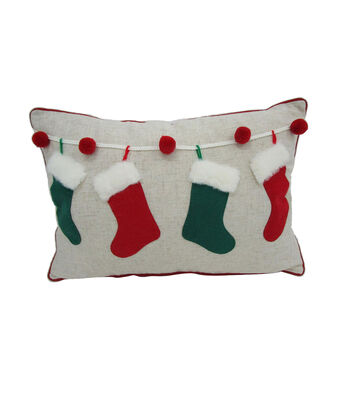 Maker's Holiday Christmas Lumbar Pillow with Stocking