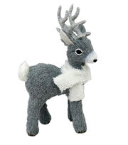 Blooming Holiday Christmas Small Standing Deer with Scarf-Gray, , hi-res