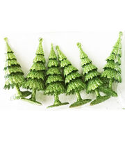Maker's Holiday Christmas Littles 6 pk Plastic Trees-Green, , hi-res