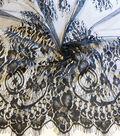 Casa Embellish Fabric-Wide Lace Double Border Black