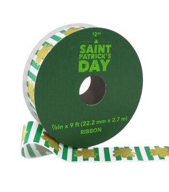 St. Patrick's Day Ribbon 7/8''x9'-Gold Shamrocks on Green & White Stripe