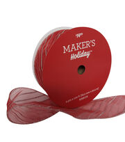 Maker's Holiday Christmas Value Ribbon 2.5''x100'-Silver Stripe on Red, , hi-res