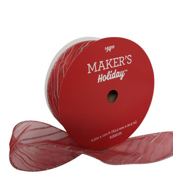 Maker's Holiday Christmas Value Ribbon 2.5''x100'-Silver Stripe on Red