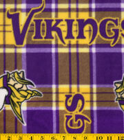 "Minnesota Vikings Fleece Fabric 58""-Plaid, , hi-res"