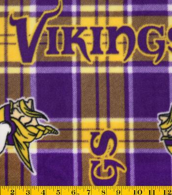 """Minnesota Vikings Fleece Fabric 58""""-Plaid"""