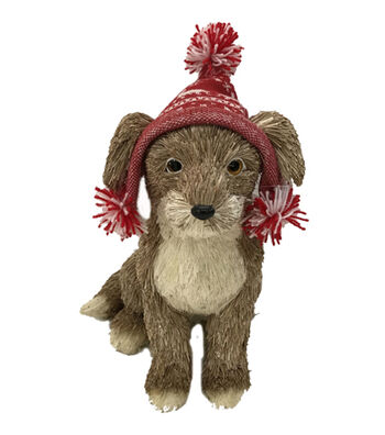 Blooming Holiday Christmas Dog with Knit Hat-Brown & Red