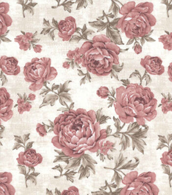 Vintage Cotton Fabric 43''-Pink Large Floral on Ivory