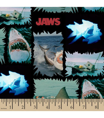 Jaws Cotton Fabric-Shark Torn Patches