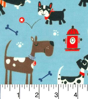 "3 Yard Pre-Cut Snuggle Flannel Fabric 42""-Dogs Bones And Fire Hydrants"