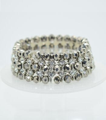 Glass Beads Spacer Bracelet-Silver
