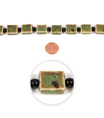 Blue Moon Strung Raku Ceramic Beads,Flat Square,Green w/Brown,Spatter