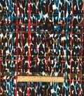 Apparel Knit Fabric-Plaid Animal Black Teal Orange Knit