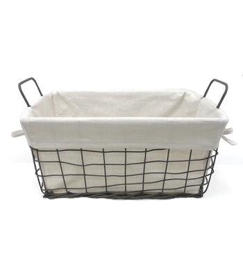 Organizing Essentials™ 8x8 Wire Basket with Ivory Liner