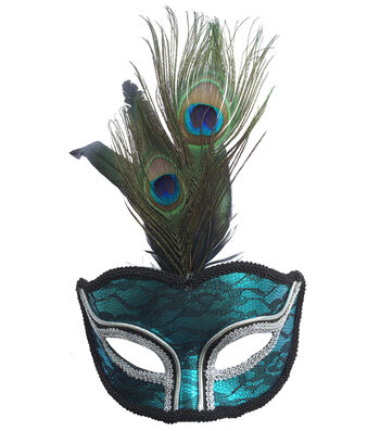 Maker's Halloween Mask with Peacock Feathers-Turquoise & Black