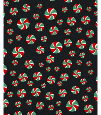 Holiday Showcase™ Christmas Cotton Fabric 43''-Peppermints on Black