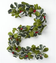 Blooming Holiday Berry & Holly Leaf Chain Garland-Red & Variegated, , hi-res