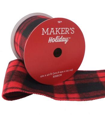 Maker's Holiday Christmas Ribbon 4''x40'-Black & Red Plaid