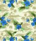 Tropical Shirting Fabric Scenic Blue & Khaki