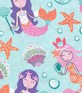 Snuggle Flannel Fabric 42\u0022-Pretty Mermaids