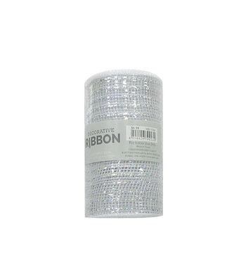 Decorative Ribbon Metallic Deco Mesh 5.5''x10 yds-Silver