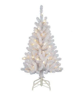 Maker's Holiday Christmas 4' PVC Tree with Lights-White