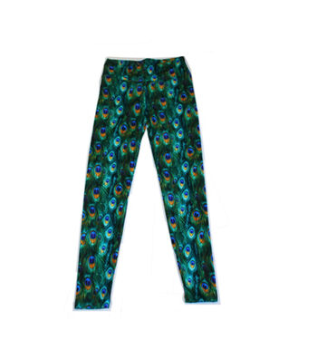 Printed Stretch Leggings L/XL-Peacock Feather