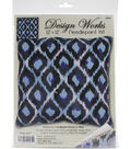 Blue Ikat Needlepoint Kit 12\u0022X12\u0022 Stitched In Yarn