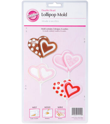 Wilton® Lollipop Mold-Double Heart 4 Cavity