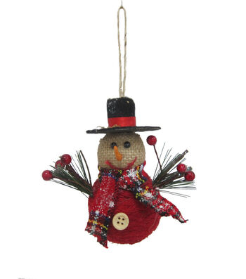 Maker's Holiday Christmas Woodland Lodge Burlap Snowman Ornament-Red
