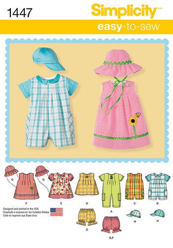 Simplicity Pattern 1447A Infants' Sportswear Outfits-Size XXS-L