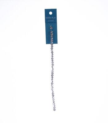 "7"" Bead Strands - Half Coat Silver Color Crystal Rondelles, 4 x 6mm"