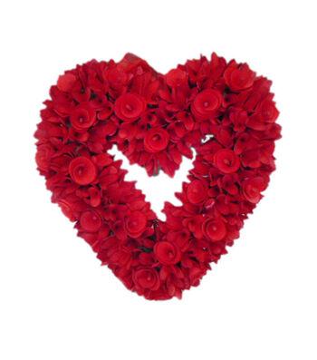 Valentine's Day Wood Chip Heart Wreath-Red
