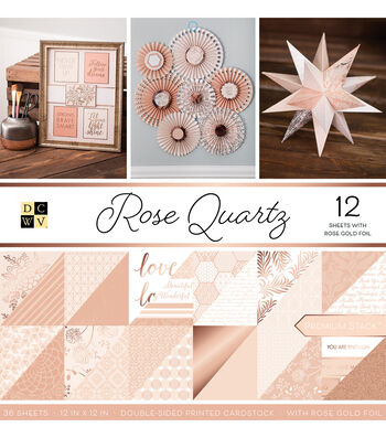 DCWV Pack of 12 12''x12'' Premium Printed Cardstock Stack-Rose Quartz
