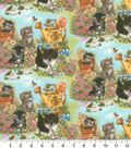 Novelty Cotton Fabric 44\u0027\u0027-Kittens in Garden