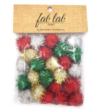 Big Value 1'' Tinsel Holiday Poms