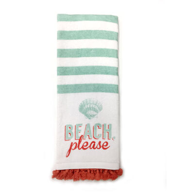 Sea to Sea 16''x28'' Terry Hand Towel With Tassel Trim-Beach Please