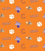"Clemson University Tigers Cotton Fabric 44""-Orange All Over, , hi-res"