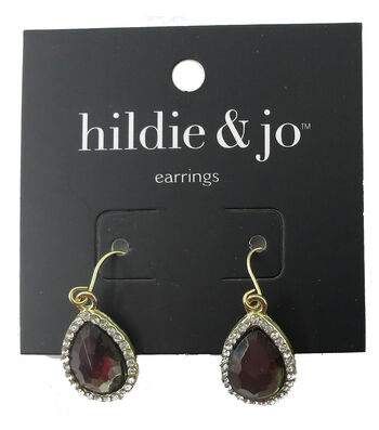 hildie & jo™ Gold Earrings-Dark Teardrop Stone with Clear Crystal