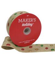 Maker's Holiday Christmas Ribbon 1.5''x30'-Glitter Dots on Natural, , hi-res