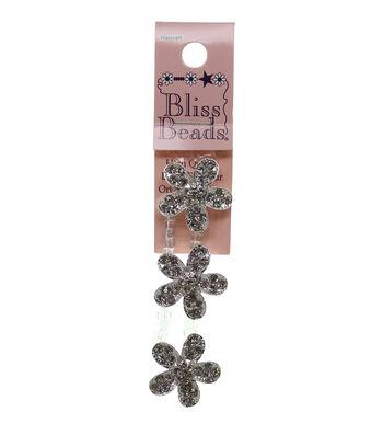 Bliss Beads Silver Plated Rhinestone Flower Sliders