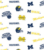"University of Michigan Wolverines Cotton Fabric 44""-White All Over, , hi-res"