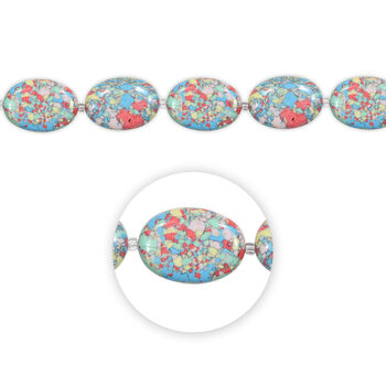 "Blue Moon Beads Strand 7"" Stone Large Flat Oval, Pastel Multi, Marbled"
